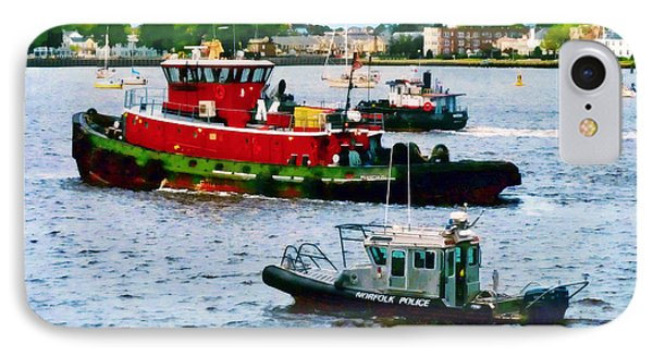 Norfolk Va - Police Boat And Two Tugboats IPhone Case