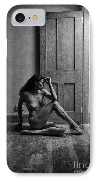 Nude Woman Sitting By Doorway In Abandoned Room IPhone Case