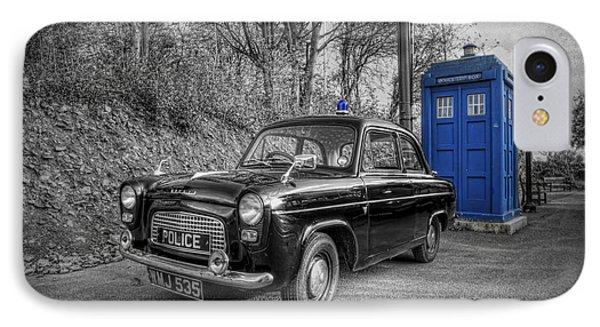 Old British Police Car And Tardis IPhone Case