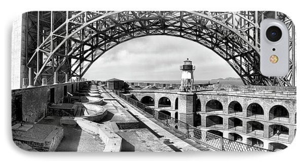 Old Fort Point Lighthouse Under The Golden Gate In Bw IPhone Case