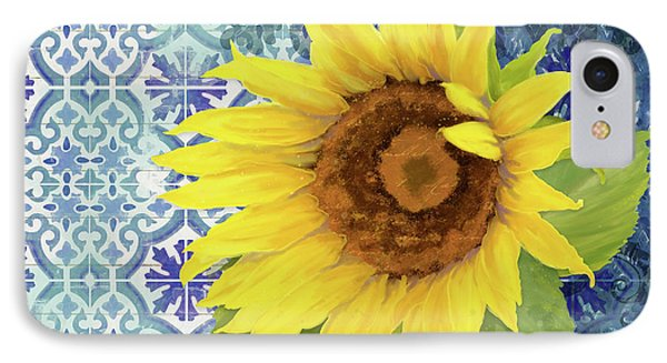 IPhone Case featuring the painting Old Havana Sunflower - Cobalt Blue Tile Painted Over Wood by Audrey Jeanne Roberts