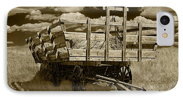 Old Hay Wagon In Sepia IPhone Case