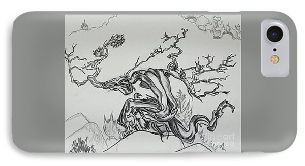 Old Juniper Dancing With The Wind -- Field Sketch IPhone Case