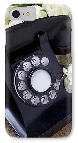 Old Phone And White Roses IPhone Case