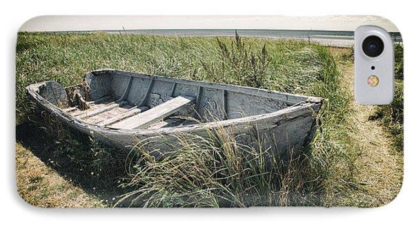 Old Wrecked Boat On Grassy Coastline In Cape Bretton Nova Scotia IPhone Case