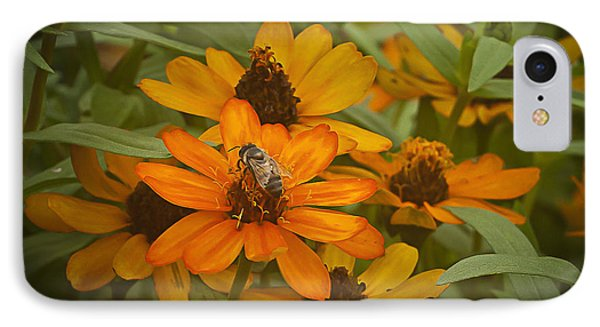 Orange Flowers And Bee IPhone Case