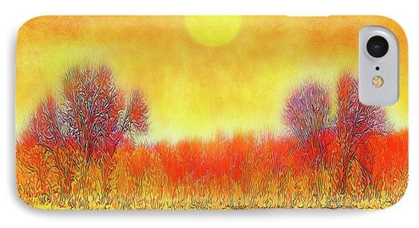Orange Sunset Shimmer - Field In Boulder County Colorado IPhone Case