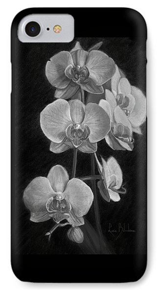 Orchid iPhone 8 Case - Orchids - Black And White by Lucie Bilodeau