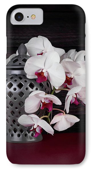 Orchid iPhone 8 Case - Orchids With Gray Ginger Jar by Tom Mc Nemar