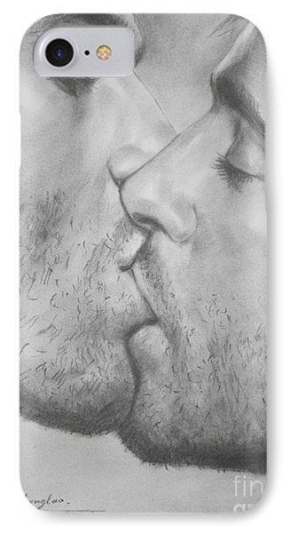 Original Drawing Sketch Charcoal Chalk Gay Man Art - Kiss Pencil On Paper -025 IPhone Case