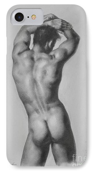 Original Drawing Sketch Charcoal Gay Interest Man Male Nude Art Pencil On Paper-0047 IPhone Case