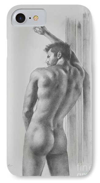 Original Drawing Sketch Charcoal Male Nude Gay Interest Man Art Pencil On Paper -0039 IPhone Case