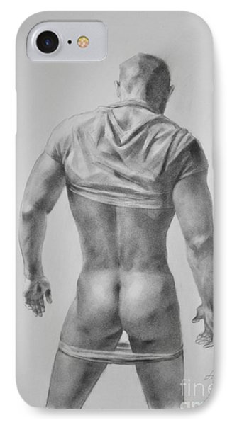 Original Drawing Sketch Charcoal Male Nude Gay Interest Man Art Pencil On Paper #11-17-19 IPhone Case