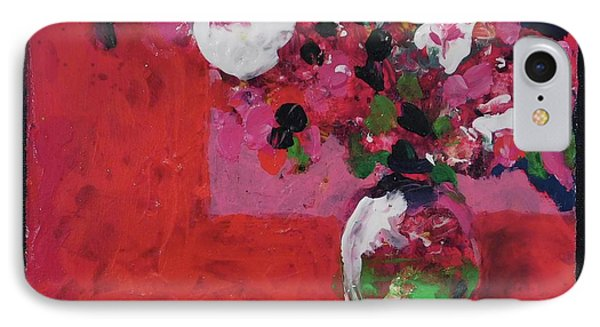 Original Floral Painting By Elaine Elliott, 12x12 Acrylic And Collage, 59.00 Incl. Shipping, Contemp IPhone Case