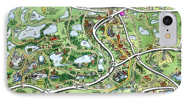 Orlando Florida Cartoon Map IPhone Case
