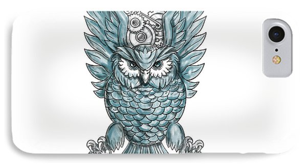 Owl Swooping Wings Clock Gears Tattoo  IPhone Case