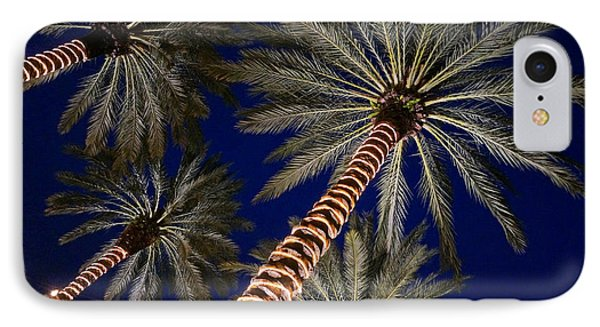 Palm Trees Wrapped In Lights IPhone Case