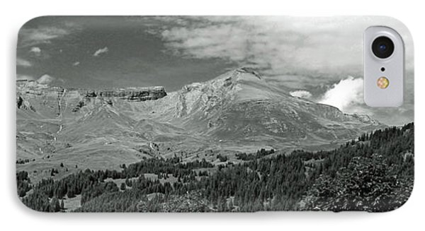 Panorama Alps Switzerland In Black And White IPhone Case