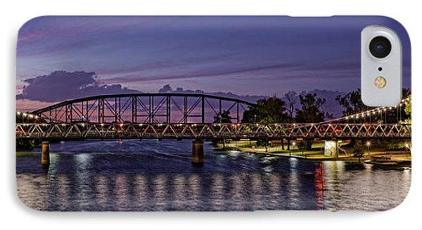 Panorama Of Waco Suspension Bridge Over The Brazos River At Twilight - Waco Central Texas IPhone Case