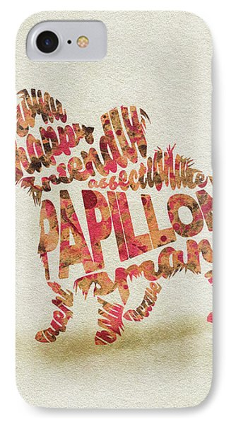 Papillon Dog Watercolor Painting / Typographic Art IPhone Case