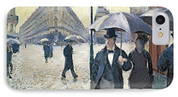 Impressionism iPhone 8 Case - Paris A Rainy Day by Gustave Caillebotte