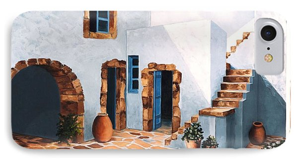 Patio In Patmos, Greece-prints From Original Oil Painting IPhone Case