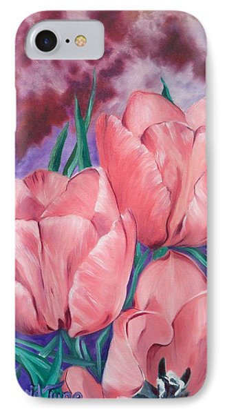 Peach Pink Tulips IPhone Case