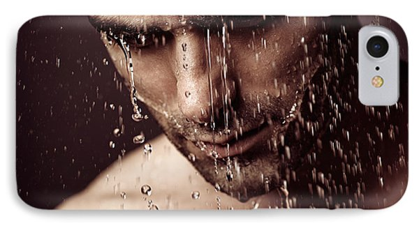 Pensive Man Face Under Showering Water IPhone Case