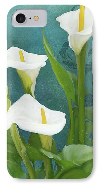 IPhone Case featuring the painting Perfection - Calla Lily Trio by Audrey Jeanne Roberts