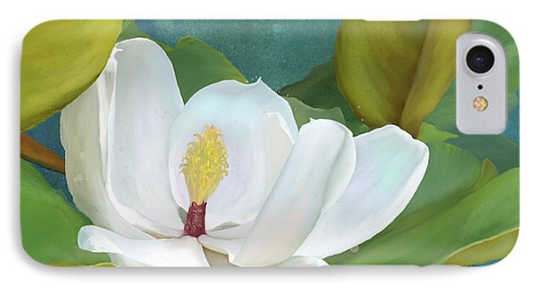 IPhone Case featuring the painting Perfection - Magnolia Blossom Floral by Audrey Jeanne Roberts