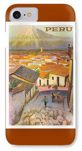 Peru El Misti Volcano Vintage Travel Poster IPhone Case