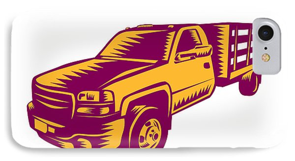 Pick-up Truck Woodcut IPhone Case