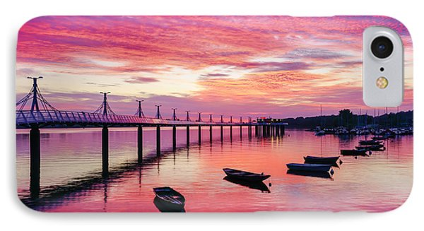 Pier, Boats And Red Sunset IPhone Case