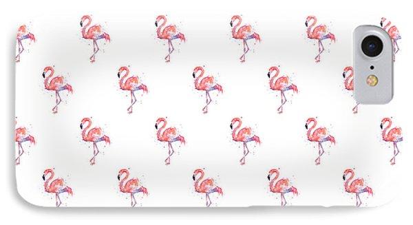 Animals iPhone 8 Case - Pink Flamingo Watercolor Pattern by Olga Shvartsur