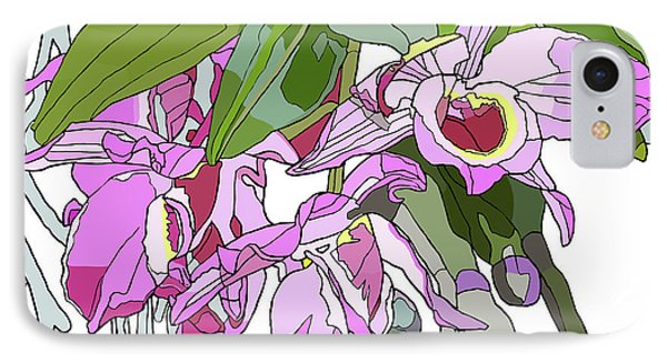 Pink Orchid Bunch IPhone Case