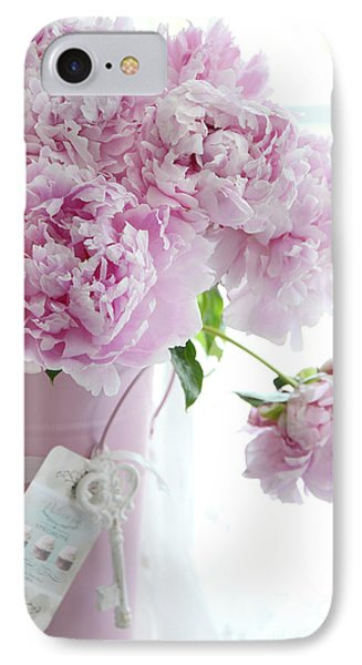 Pink Pastel Peonies In Pink Vase - Shabby Chic Cottage Pink Peonies Wall Art Home Decor IPhone Case