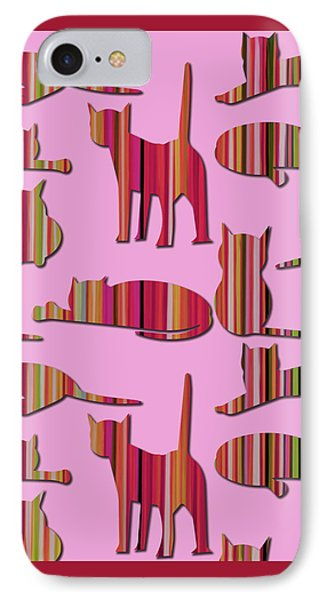IPhone Case featuring the mixed media Pink Pussy Cat by Carla Bank