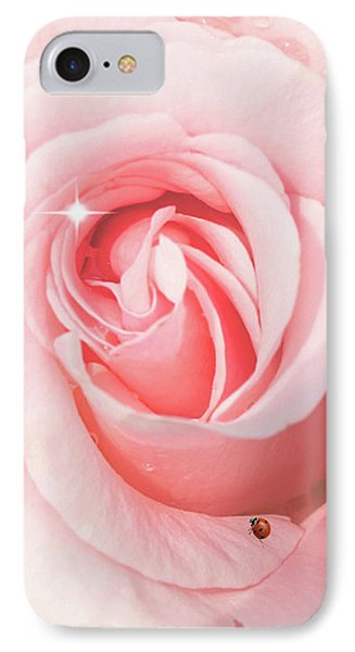 Pink Rose With Rain Drops IPhone Case
