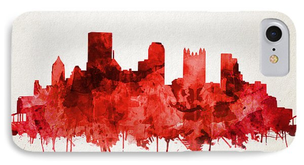 Pittsburgh Skyline Watercolor Red IPhone Case