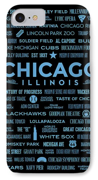 IPhone Case featuring the digital art Places Of Chicago Blue On Black by Christopher Arndt