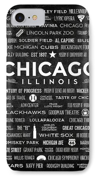 IPhone Case featuring the digital art Places Of Chicago On Black Chalkboard by Christopher Arndt