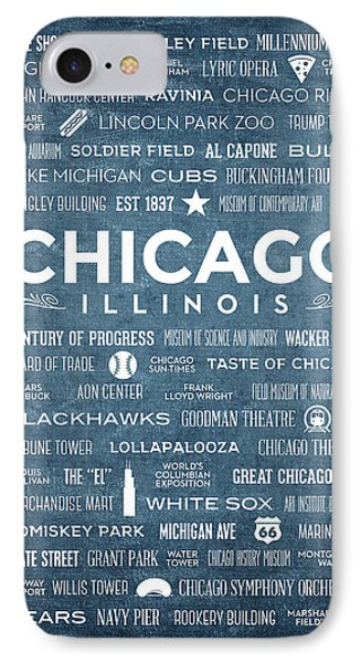 IPhone Case featuring the digital art Places Of Chicago On Blue Chalkboard by Christopher Arndt