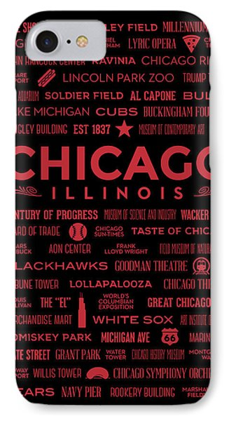 IPhone Case featuring the digital art Places Of Chicago On Red On Black by Christopher Arndt