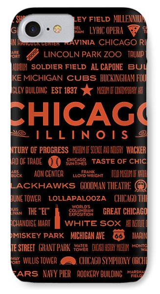 IPhone Case featuring the digital art Places Of Chicago Orange On Black by Christopher Arndt