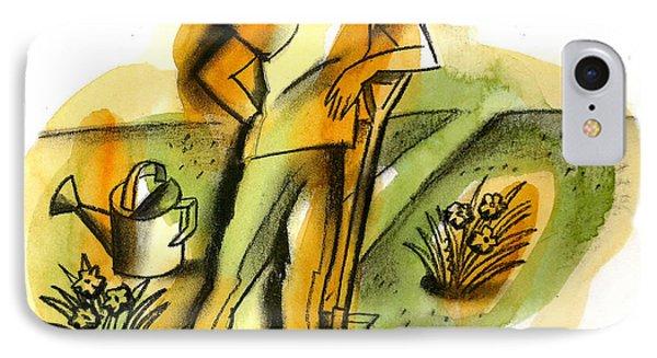 Garden iPhone 8 Case - Planting by Leon Zernitsky