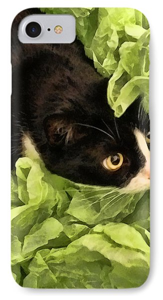 Playful Tuxedo Kitty In Green Tissue Paper IPhone Case