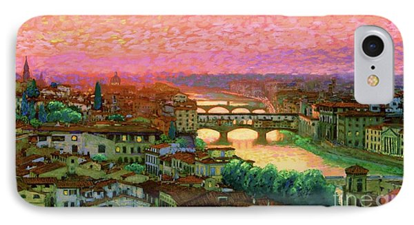 Impressionism iPhone 8 Case - Ponte Vecchio Sunset Florence by Jane Small
