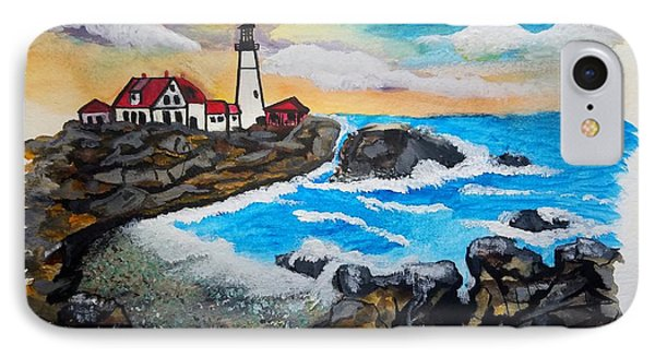 Porthead Lighthouse Maine In Watercolors IPhone Case