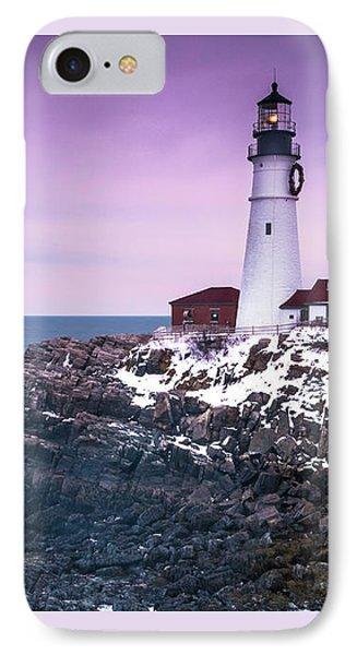 Maine Portland Headlight Lighthouse In Winter Snow IPhone Case