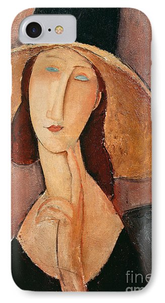 Portraits iPhone 8 Case - Portrait Of Jeanne Hebuterne In A Large Hat by Amedeo Modigliani